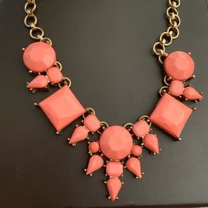 Coral bauble bar necklace
